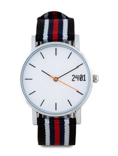 Men's Canvas Strap Watch by 24:01. Canvas strap and metal case, multi color strap watch with blue black white and red. Analog watch with 3.4 cm diameter, strap length 24 cm. 3 hand movement, perfect for your casual look. http://www.zocko.com/z/JFLm3