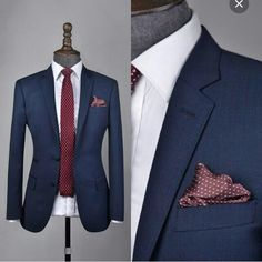 Men's Custom Made Woolen Suit European Style Slim Fit Dress Suits Sets Two Buttons Two Piece Suit Blue/Gray/Brown/Navy (Jacket+Pants+Tie)