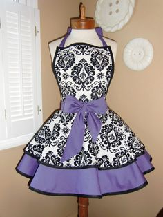 Damask Print Accented with Purple Womans Retro Apron With Tiered Skirt And Bib...Plus Size Available | Etsy