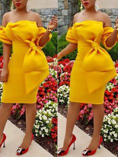 Stylish Off Shoulder Bowknot Detail Bodycon Dress Alexander Grassner Große 46 African Attire, African Fashion Dresses, African Dress, Sexy Dresses, Beautiful Dresses, Short Dresses, 50s Dresses, Elegant Dresses, Latest Dress Design