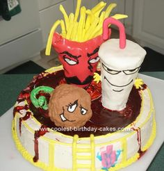My husband and I love Aqua Teen Hunger Force so for his birthday I made them in their favorite place - Carls' pool and I took it from the robot from t Aqua Teen Hunger Force, Teen Cakes, Teen Birthday, Birthday Ideas, Best Cartoons Ever, Cake Board, Cool Birthday Cakes, Unique Cakes, Edible Art
