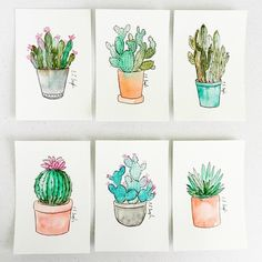 Six new mini cactus illustrations are in the shop!