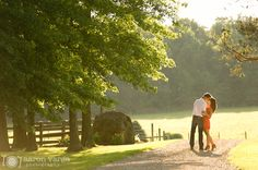 Summer country road engagement, Pittsburgh