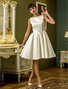 uma linha-bateau do joelho-comprimento vestido de noiva de c... – BRL R$ 253,28