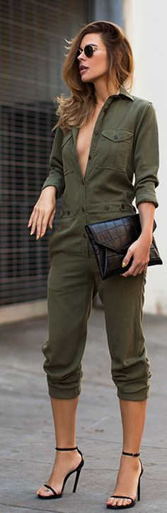 Army Green Utility Overall I'd wear this jumpsuit with more buttons fastened!!