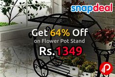 Snapdeal Deal of the Day is offering 64% off on Flower Pot Stand at Rs.1349. 3-in-1 pot, can be displayed balcony, terrace, garden & even in your living room also,Grab a hand on this amazing stand from the storehouse of E Plant, which will surely enhance the beauty of your house. Constructed from premium quality material, the stand consists of here in one pot, which is designed with perfection.  http://www.paisebachaoindia.com/get-64-off-on-flower-pot-stand-at-rs-1349-snapdeal/