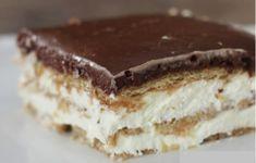 Eckler torta, Sütés nélkül - Hozzávalók: 2 csomag vaníliás pudingpor 8 dl tej 3,5 dl habtejszín 400 g édes keksz, vagy esetleg piskóta tallér Bevonat: 45 g vaj 3 evőkanál tej 45 g kakaópor 150 g porcukor