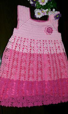 Vestido Infantil  Multicor Croche WhatsApp  061 9 9918 0837