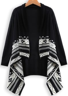 To find out about the Black Long Sleeve Geometric Print Cardigan at SHEIN, part of our latest Sweaters ready to shop online today! Batik Fashion, Hijab Fashion, Mode Batik, Top Chic, Desi Wedding Dresses, Short Frocks, Blouse Batik, Iranian Women Fashion, Sleeves Designs For Dresses