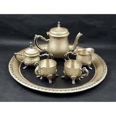 Miniature Tea Service 6-Piece in Gold Black, Hand Painted OOAK ($76) ❤ liked on Polyvore featuring home and kitchen & dining
