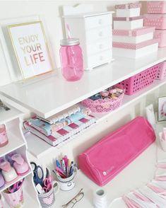Teen Bedroom Designs, Bedroom Themes, Bedroom Decor, Study Room Decor, Cute Room Decor, Craft Closet Organization, Guest Bedroom Office, Kawaii Room, Dream Rooms