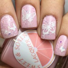 "Nadia on Instagram: ""Butterfly mani for @mari_poza birthday! I used Sweet & Sour Lacquer Dubble Bubble Trubble topped off with a coat of I'm Feelin' Unicorny. Stamped using Über Chic plate 7-03 and @Ejiubas EJB-01 in Mundo de Uñas White. Sweet & Sour Lacquer Gloss Sauce top coat."""