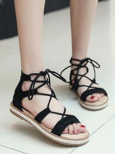 Sheinstreet Spring and Fashion Brown Black Apricot Bohemia Type Beach Flat Sandal BROWN Summer Heels, Spring Sandals, Lace Up Gladiator Sandals, Flat Sandals, Beach Sandals, Leather Sandals, Heeled Boots, Shoe Boots, Women's Shoes