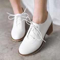 Sidewalk - Block Heel Lace-up Shoes