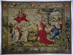 God blesses Noah's family by Wilhelm de Pannemaker, 1567. Rijksmuseum, Public Domain Textile Tapestry, Tapestry Design, Tapestries, Woven Image, Amsterdam, Medieval Paintings, Medieval Tapestry, Museum, Tapestry Wall Hanging