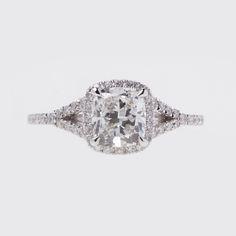 cushion cut engagement rings | Cushion Cut Diamond Engagement Ring with Diamond Halo and Split Shank