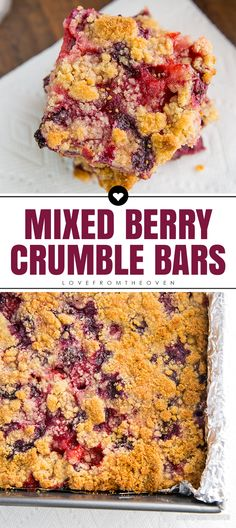 Mixed Berry Crumble Bars Recipe. Love this easy berry dessert recipe with raspberries, strawberries, blueberries and blackberries.
