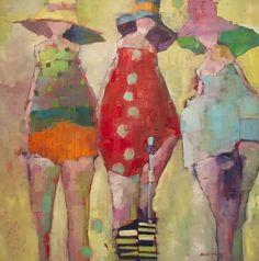 Angela Morgan (born 1972 and raised in Pense, Saskatchewan, Canada) … - Malerei Kunst - English Figure Painting, Painting & Drawing, Oil Painting Flowers, Whimsical Art, Beach Art, Figurative Art, Painting Inspiration, Watercolor Art, Folk Art