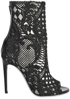 Balmain 110mm Guipure Lace Open Toe Boots in Black