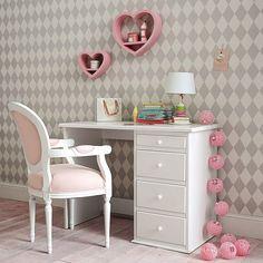 Bureau enfant en bois blanc L 105 cm