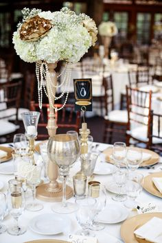 quinn & brent Photo By Jenny Smith & Co.  Old Hollywood Great Gatsby wedding, gold painted peonies, hydrangeas, mercury glass, diy, eclectic one of a kind candles, votives, collection   These centerpieces are now for sale here:  http://seattle.craigslist.org/est/hsh/5591694355.html