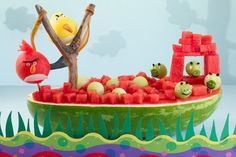 Angry Birds Carved Watermelon #recipe #howto