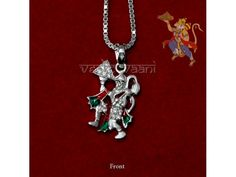 Hanuman Carrying Mountain Locket with Chain in Sterling Silver buy online from India : Lord Hanuman in carrying mountain with flying pose.   Lord Hanuman, Rama's eternal servant,the embodiment of devotion,whose body is as strong as thunder, whose mind is as sharp as lightening, who holds in his arms the mountain of herbs and a mace,who crushes malefic demons under his feet,who solves problems, takes away worry,inspires strength,gives hope and confidence,and who helps the devotee make his…