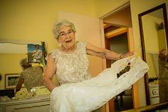 edmonton bohemian/country backyard wedding. {amy + matt} grandmother with wedding gown.