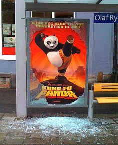 "Guerrilla Advertising ""Kung Fu Panda"" for a bus ad."
