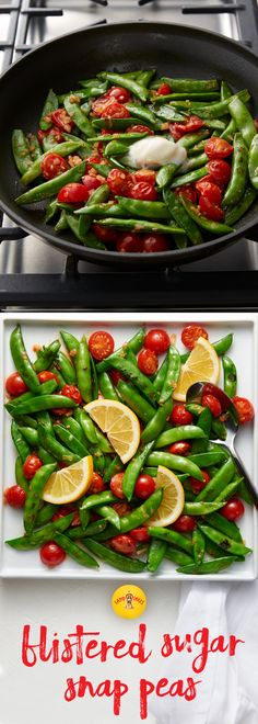 Blistered sugar snap peas with cherry tomatoes and fresh lemon juice. A perfect spring vegetable side dish recipe.