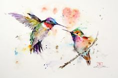 'THE LOVEBIRDS' Watercolor Hummingbird Print - Crouser Fine Art Store