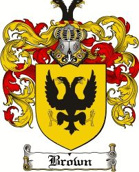 Brown family crest and motto Chief's Motto: Floreat majestas (let ...