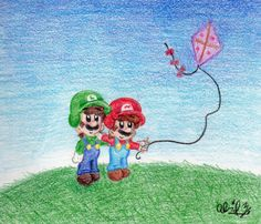 I got this idea from an RP I'm doing with my beloved dA sister, There was this one part where Mario was flying this kite, and Luigi offered t. Super Mario Brothers, Super Mario Bros, Mario And Princess Peach, Kite Flying, Luigi, Nintendo, Geek Stuff, Blue And White, Kawaii