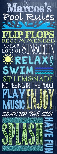 Custom Outdoor Digital Chalkboard Pool sign. by CustomPrintablesNY, $6.00