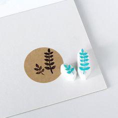 Leaf rubber stamp. Hand carved stamp. Set of 2 leaves. Or choose. Handmade stamp. Unmounted stamp. Cute stamp. Nature stamp.