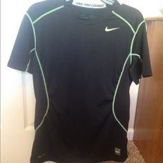 Nike pro combat fitted dri-fit! Mens workout shirt!! In good condition! Black and lime green! Nike Tops Muscle Tees