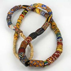 Antique Venetian Glass Trade Beads - African Trade Beads. Mixed strand of colorful Venetian glass & mosaic glass trade beads from the early 1900s