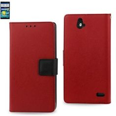 Reiko Wallet Case 3 In 1 For ZTE Grand X Max Z787 Red With Interior Leather-Like Material And Polymer Cover