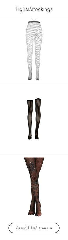 """""""Tights/stockings"""" by avintagemystery ❤ liked on Polyvore featuring intimates, hosiery, tights, fishnet stockings, fishnet hosiery, fishnet pantyhose, fishnet tights, socks, accessories and leggings"""