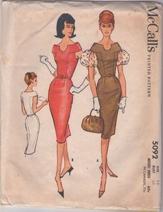 MOMSPatterns Vintage Sewing Patterns - McCall's 5092 Vintage 50's Sewing Pattern INSANELY FABULOUS Rockabilly Stand Up Shoulder Cuffed Sheath Cocktail Party Dress, Sheer Bouffant Puff Sleeves