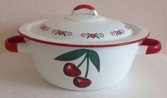 Vintage Cherry Design Enamelware Pot Lid by sinderellasattic, $35.00