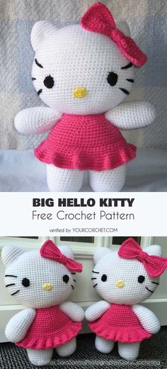 Big Hello Kitty Amigurumi Free Crochet Pattern | Your Crochet - crochet toys, crochet softie ideas