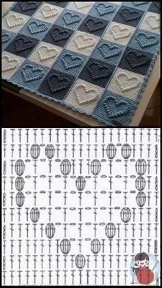 Filet Crochet, Crochet Diy, Crochet Quilt, Crochet Motif, Crochet Designs, Crochet Stitches, Crochet Doilies, Granny Square Crochet Pattern, Crochet Diagram
