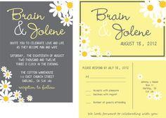 wedding script yellow daisies  custom wedding invitations-budget wedding invitations-personalized wedding suite on Etsy, $1.60