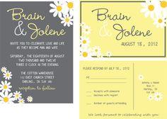 wedding script yellow daisies  custom wedding invitations-budget wedding invitations-personalized wedding suite on Etsy, $1.60