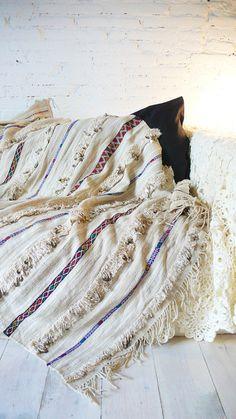 Handira  Vintage Moroccan Wedding Blanket  small by lacasadecoto