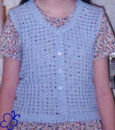 I used a light blue yarn called Red Heart Lustersheen to crochet this vest. The blue buttons are reused from old pajamas.