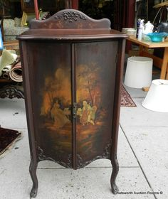Antique Victorian Walnut Hand Painted Scenic Sheet Music Cabinet c1890