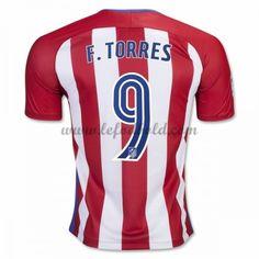 Billige Fodboldtrøjer Atletico Madrid 2016-17 Fernando Torres 9 Kortærmet Hjemmebanetrøje