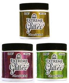 extreme glitter paint--Great for adding a little shine and shimmer to any project, from paper to jewelry.